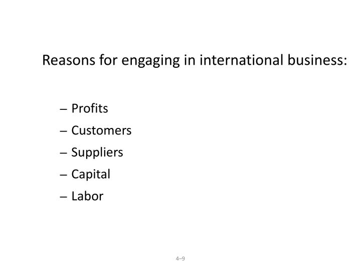 Reasons for engaging in international business: