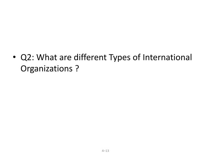 Q2: What are different Types of International Organizations ?