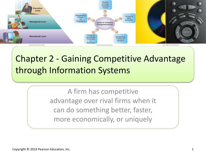 Chapter 2 gaining competitive advantage through information systems