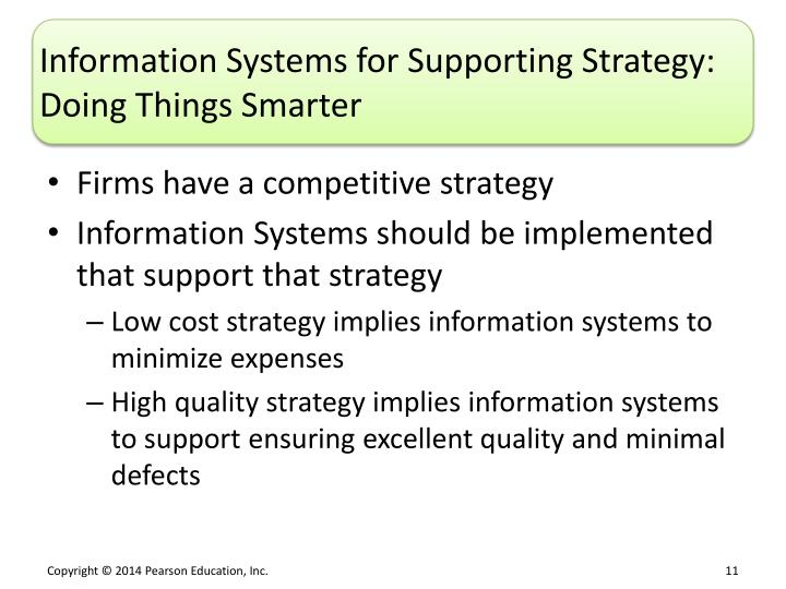 Information Systems for Supporting Strategy: Doing Things Smarter