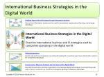 international business strategies in the digital world