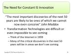 the need for constant is innovation