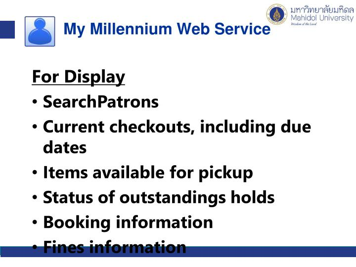 My Millennium Web Service