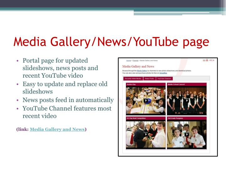 Media Gallery/News/YouTube page