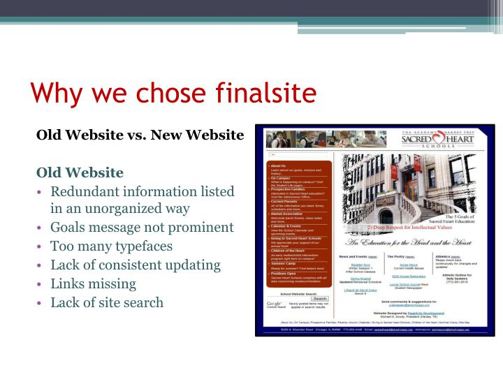 Why we chose finalsite