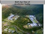 bird s eye view of accelerator facility