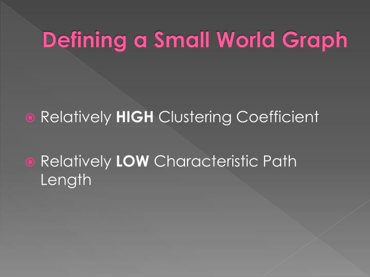 Defining a small world graph