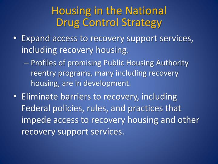 Housing in the national drug control strategy