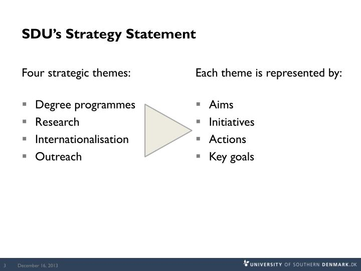 Sdu s strategy statement