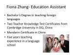 fiona zhang education assistant