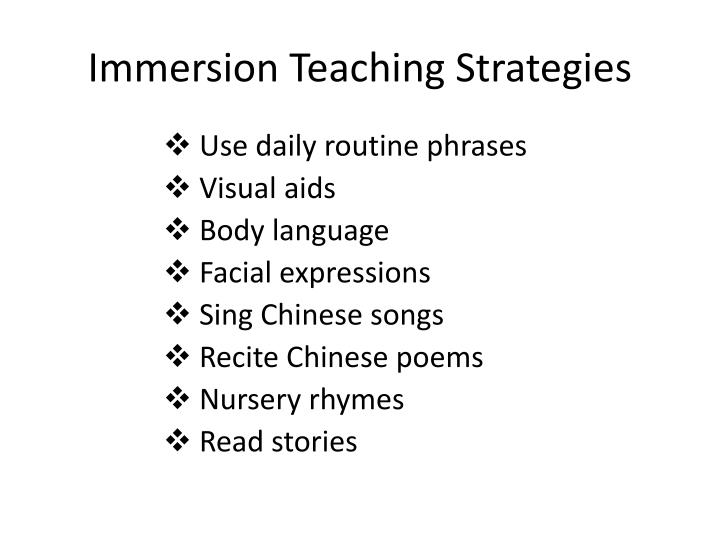 Immersion Teaching Strategies