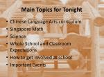 main topics for tonight
