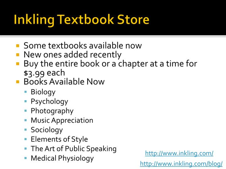Inkling Textbook Store