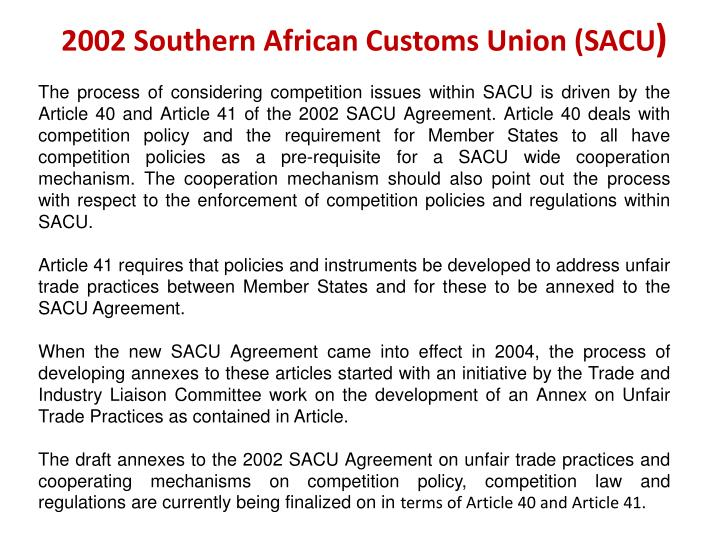 2002 Southern African Customs Union (SACU