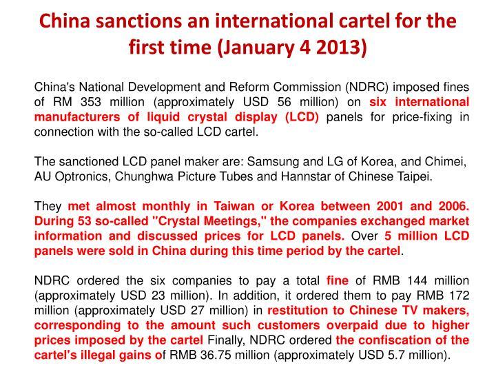 China sanctions an international cartel