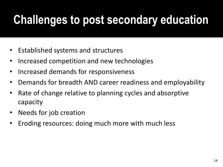 Challenges to post secondary education