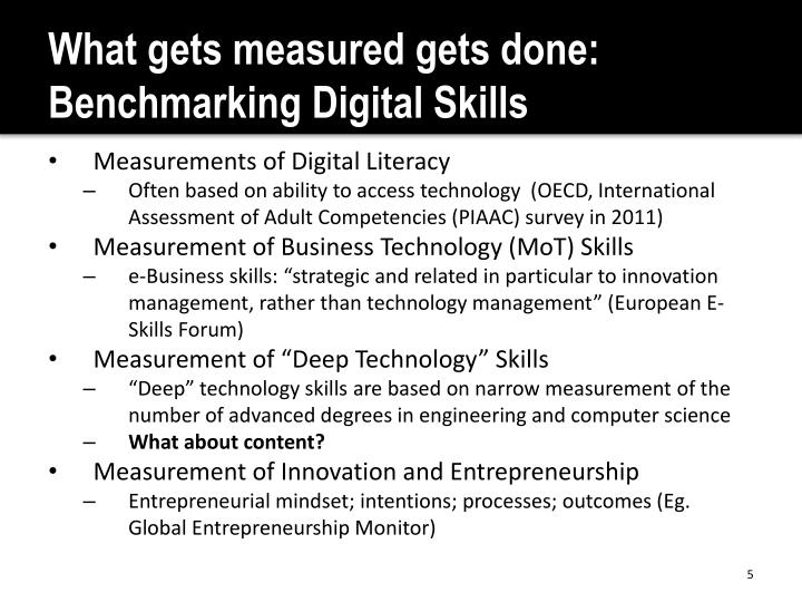 What gets measured gets done: Benchmarking Digital Skills
