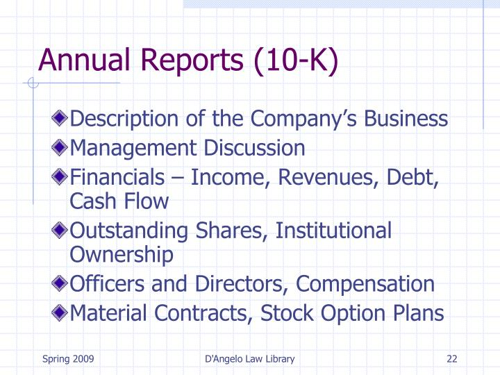 Annual Reports (10-K)