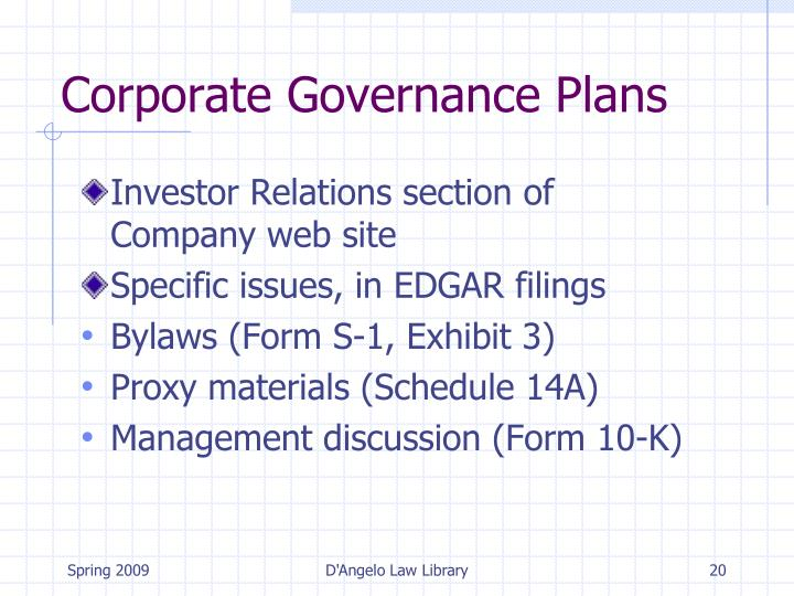Corporate Governance Plans