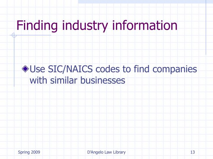 Finding industry information