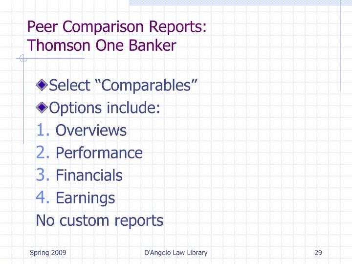 Peer Comparison Reports: