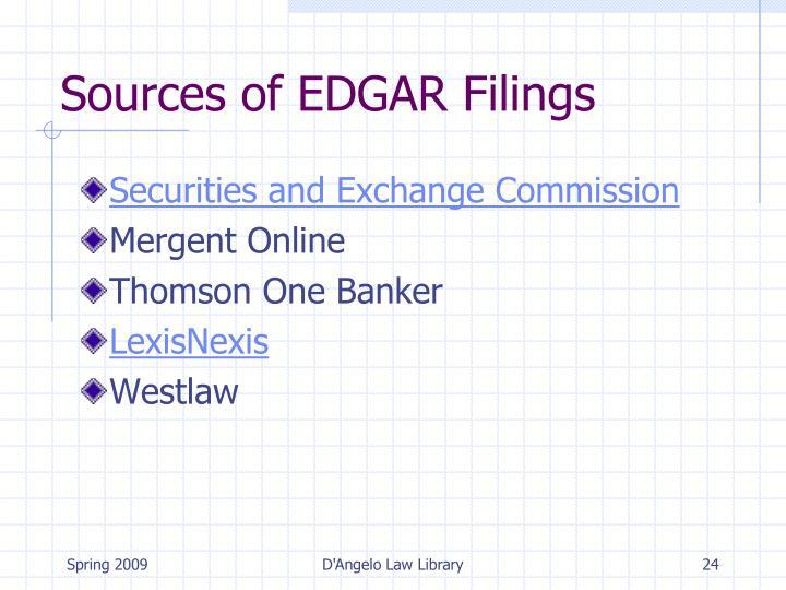 Sources of EDGAR Filings