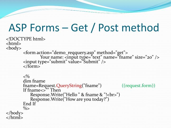 ASP Forms – Get / Post method