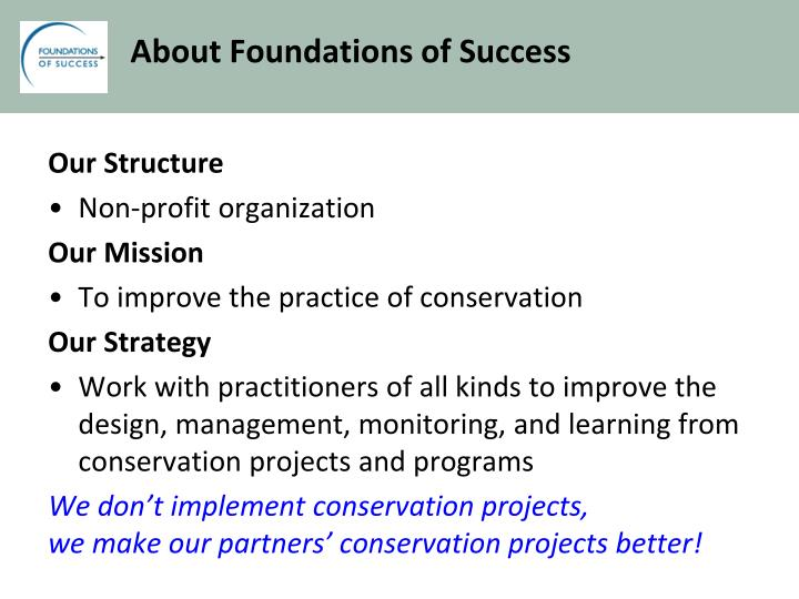 About foundations of success