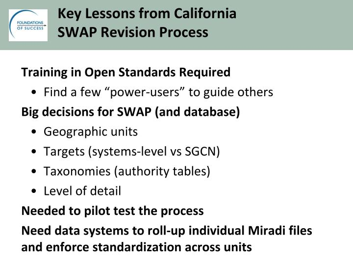 Key Lessons from California