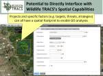 potential to directly interface with wildlife tracs s spatial capabilities
