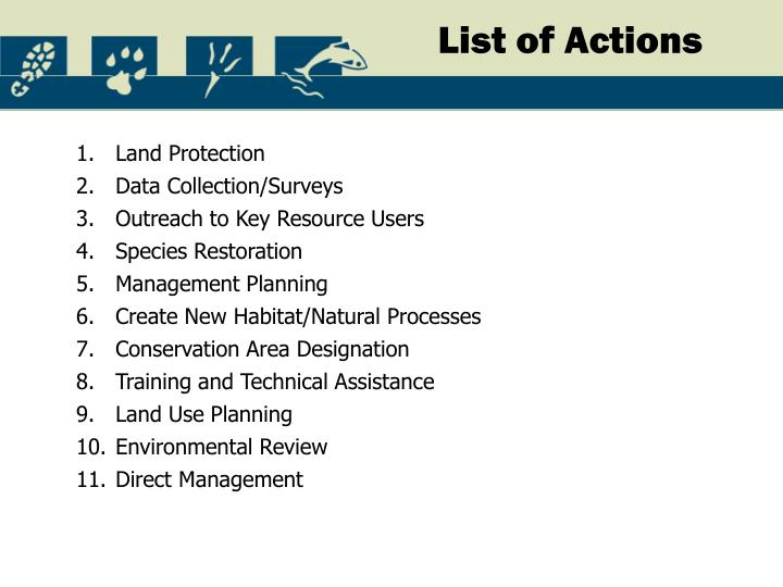 List of Actions