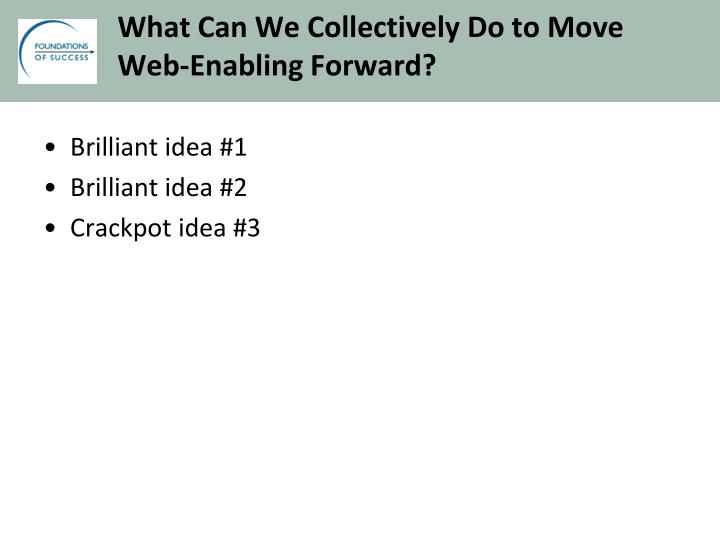 What Can We Collectively Do to Move Web-Enabling Forward?
