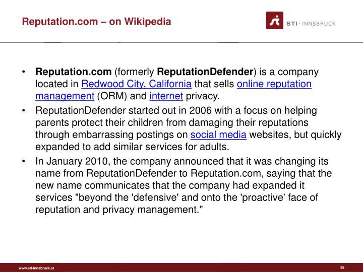 Reputation.com – on Wikipedia