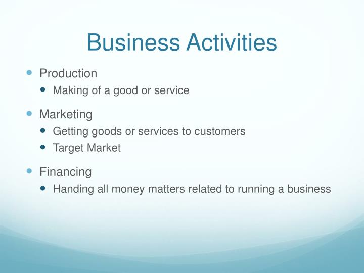 Business Activities