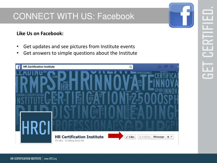 CONNECT WITH US: Facebook