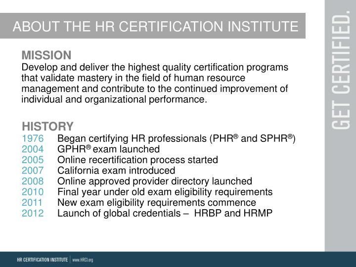 ABOUT THE HR CERTIFICATION INSTITUTE