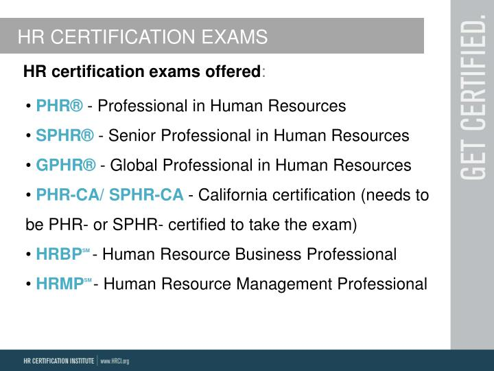 HR CERTIFICATION EXAMS