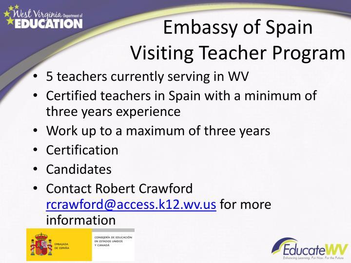 Embassy of Spain Visiting Teacher Program