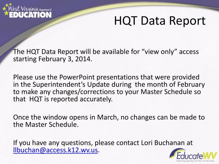 HQT Data Report