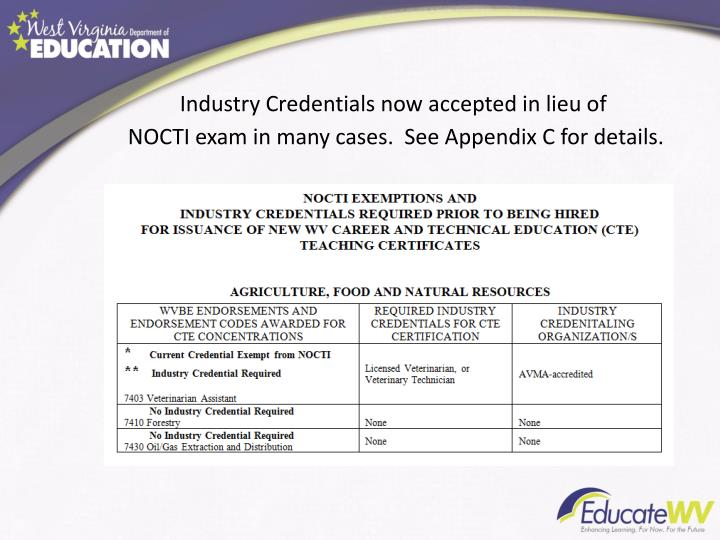 Industry Credentials now accepted in lieu of NOCTI exam in many cases.  See Appendix C for details.