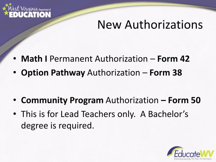 New Authorizations