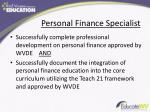 personal finance specialist