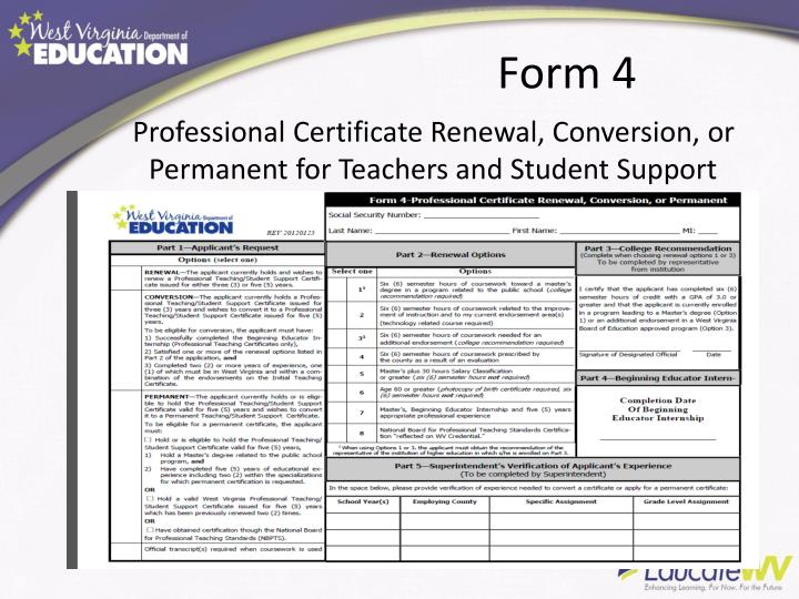 Professional Certificate Renewal, Conversion, or Permanent for Teachers and Student Support