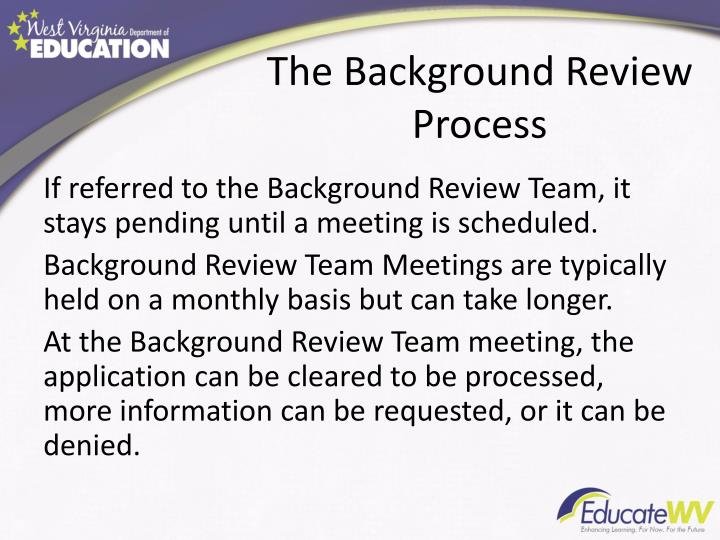 The Background Review