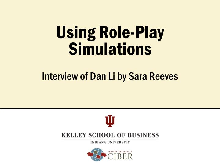 using role play simulations