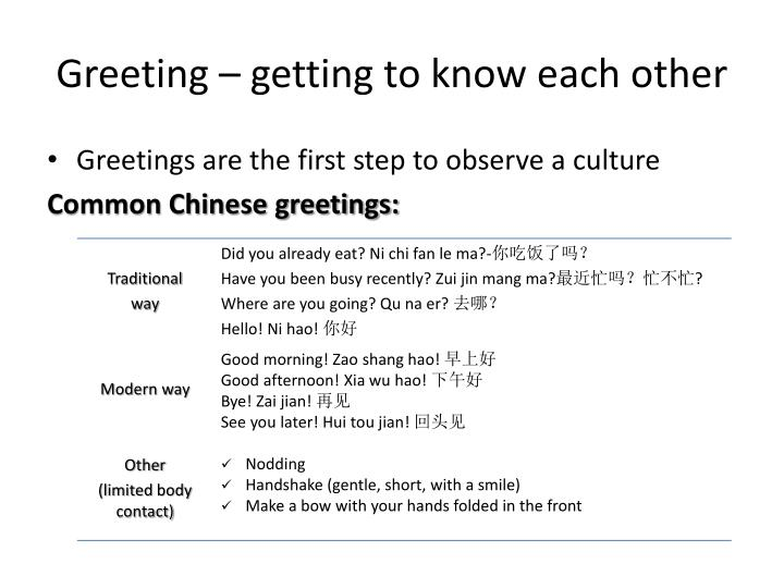 Greeting – getting to know each other