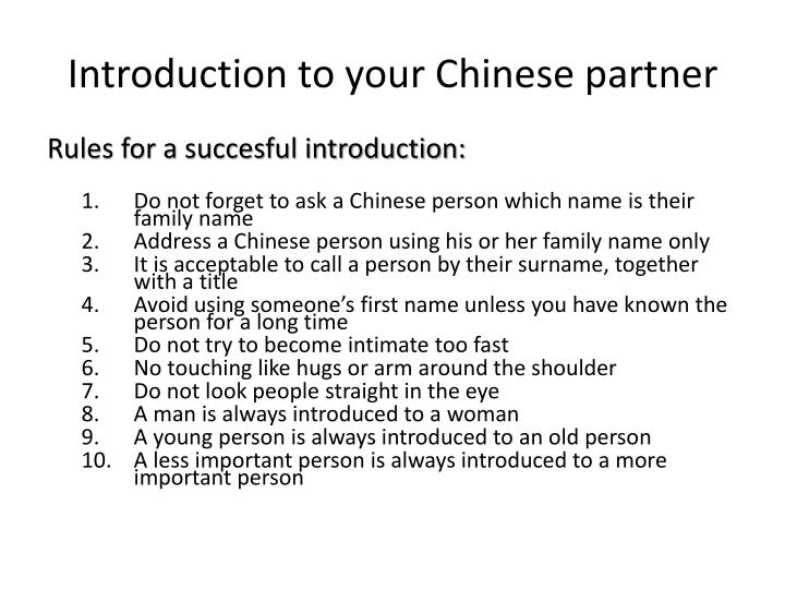 Introduction to your Chinese partner