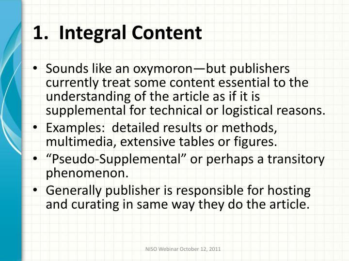 1.  Integral Content