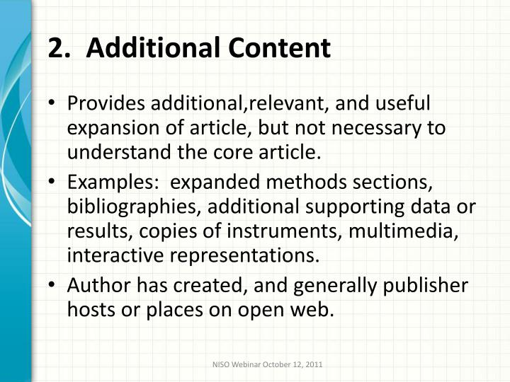 2.  Additional Content