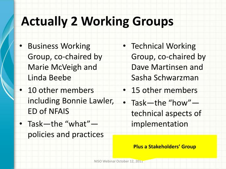 Actually 2 Working Groups